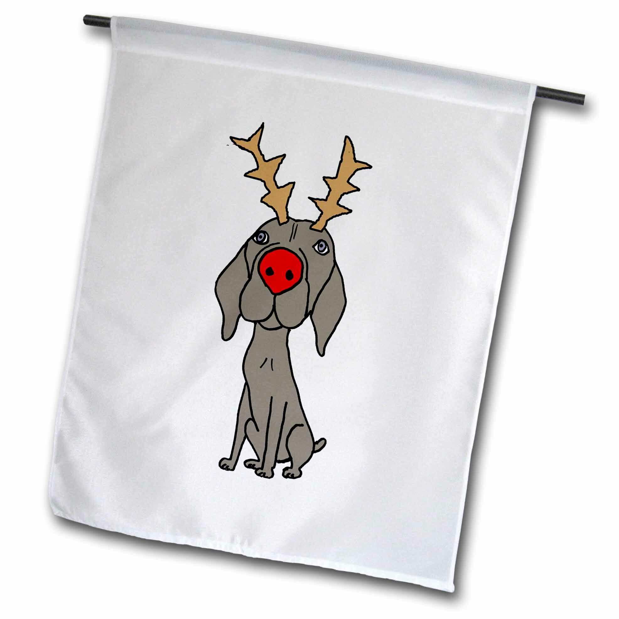 3drose Cute Funny Weimaraner Dog With Reindeer Antlers Christmas Polyester 18 X 12 In Garden Flag Wayfair