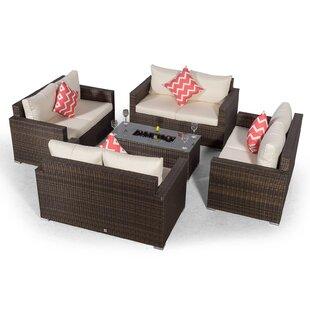 Villatoro Brown Rattan 4 X 2 Seat Sofa With 2 X Ice Bucket Rectangle Coffee Table, Outdoor Patio Garden Furniture By Sol 72 Outdoor