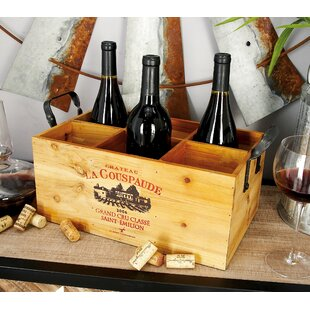 Wood Metal 6 Bottle Tabletop Wine Bottle ..
