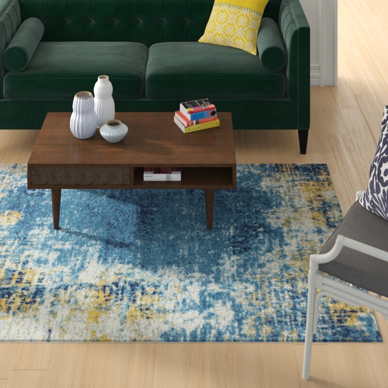 Wrought Studio Reasor Blue Area Rug, Size: Rectangle 76 x 96