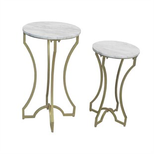 Kian Alluring Metal & Marble 2 Piece Nesting Tables by Everly Quinn
