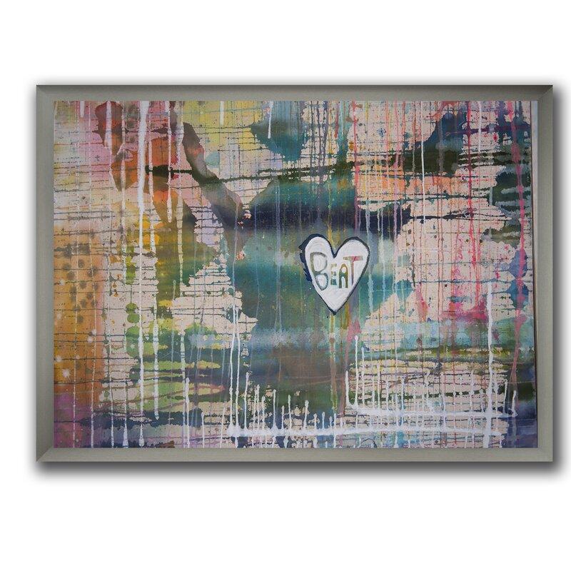 East Urban Home Mz Heart Beat Picture Frame Print On Canvas Wayfair