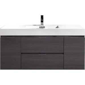 tenafly 48 single wall mount modern bathroom vanity set - Bathroom Cabinets Wall Mounted