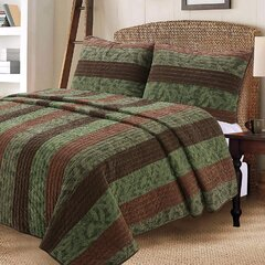 Smuge 3Pcs Tropical Thick India Green Palm Leaves Quilt Set Coverlet Twin,Beach Themed Jungle Plants Quilted Bedspread Bedding Set Lightweight Reversible Great for Bedroom Home Decor Green,Twin