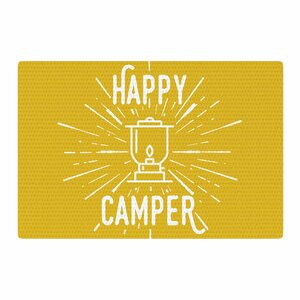 Jackie Rose Happy Camper Typography Yellow Area Rug