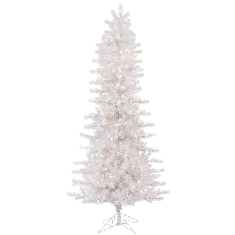 Next Slim Christmas Tree: Vickerman Slim Crystal 6.5' White Pine Artificial
