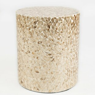 Autaugaville Round Shaped Capiz End Table by Bungalow Rose