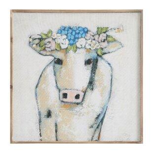 'Cow & Flowers' Framed Print on Wood