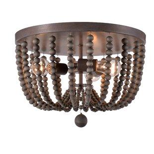 Modern contemporary blue wood bead chandelier allmodern tilden wood bead 3 light flush mount aloadofball Image collections