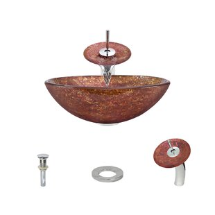 Check Prices Foil Undertone Glass Circular Vessel Bathroom Sink with Faucet By MR Direct