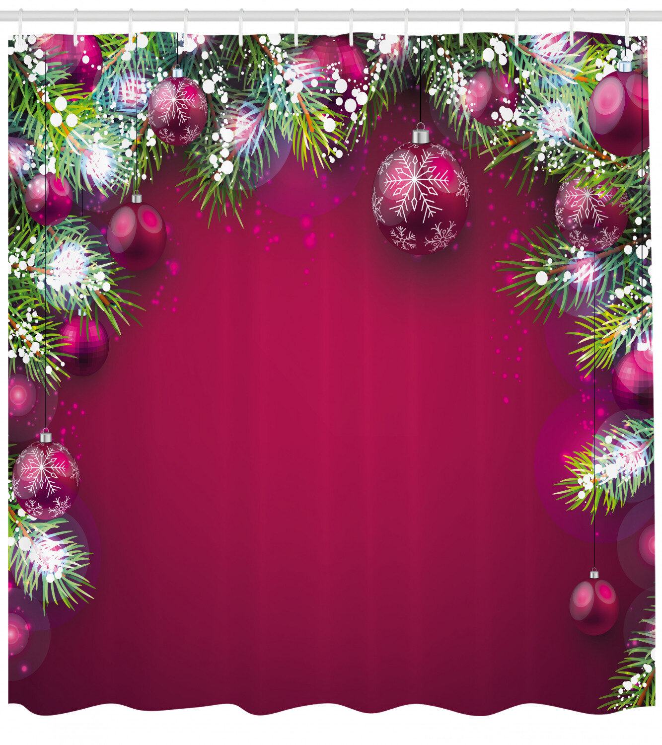 Ambesonne Christmas Shower Curtain Traditional Composition With Fir Branches Vivid Balls Snowflakes Cloth Fabric Bathroom Decor Set With Hooks 75