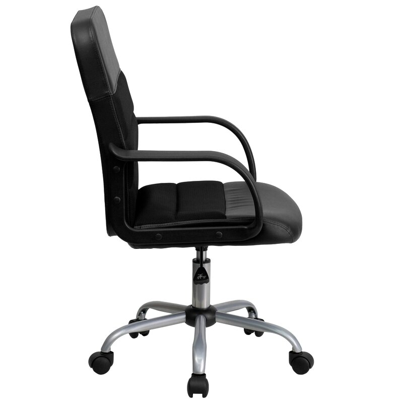Charlton Home Mid Back Black Leathersoft And Mesh Swivel Task Office Chair Reviews Wayfair
