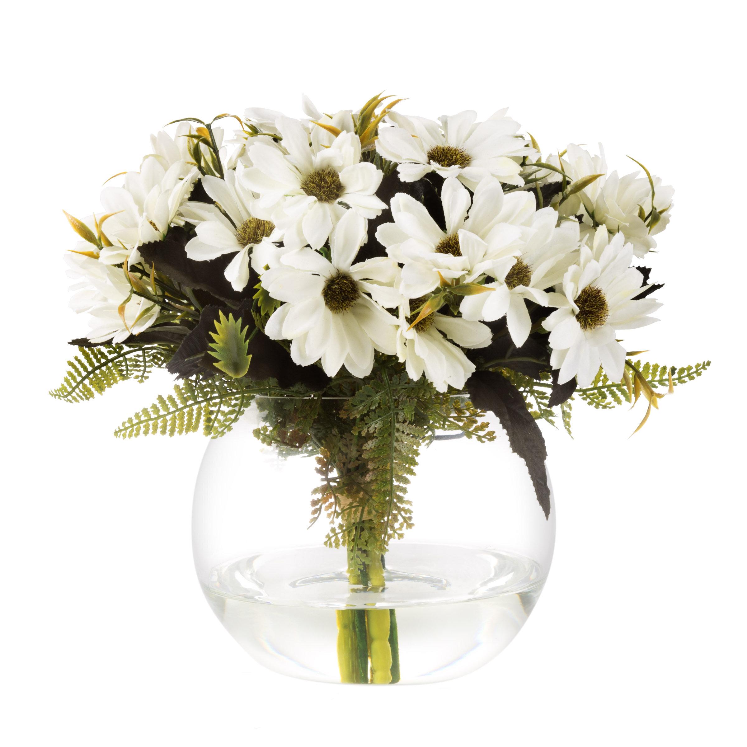 Charlton Home Daisy Floral Arrangement In Glass Vase Reviews Wayfair