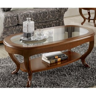 Royce Oval Glass Top Coffee Table