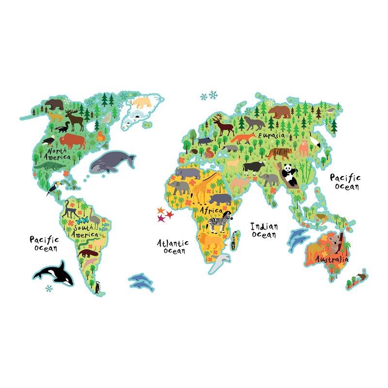 WallPops! Home Decor Line Kids World Map Wall Decal & Reviews | Wayfair
