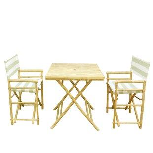 ZEW Inc Bamboo 3 Piece Outdoor Dinning Set