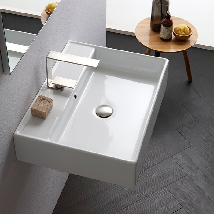 Teorema Ceramic 24 Wall Mount Bathroom Sink With Overflow
