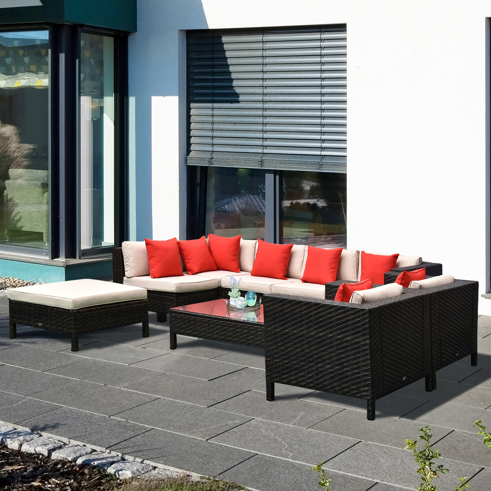 Sol 72 Outdoor Lutie 9 Piece Rattan Sectional Seating Group With Cushions Reviews Wayfair