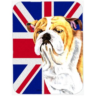 Union Jack English Bulldog with English British Flag Glass Cutting Board By Caroline's Treasures