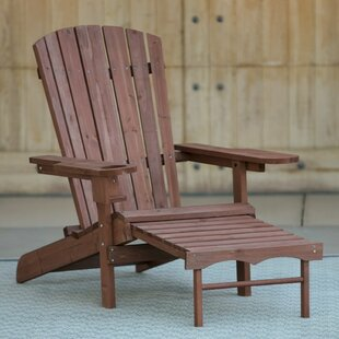 Kaelynn Muskoka Wood Folding Adirondack Chair with Ottoman