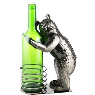 Kwan Fishing Bear Metal Holder Quirky Kitchen 1 Bottle Tabletop Wine Rack
