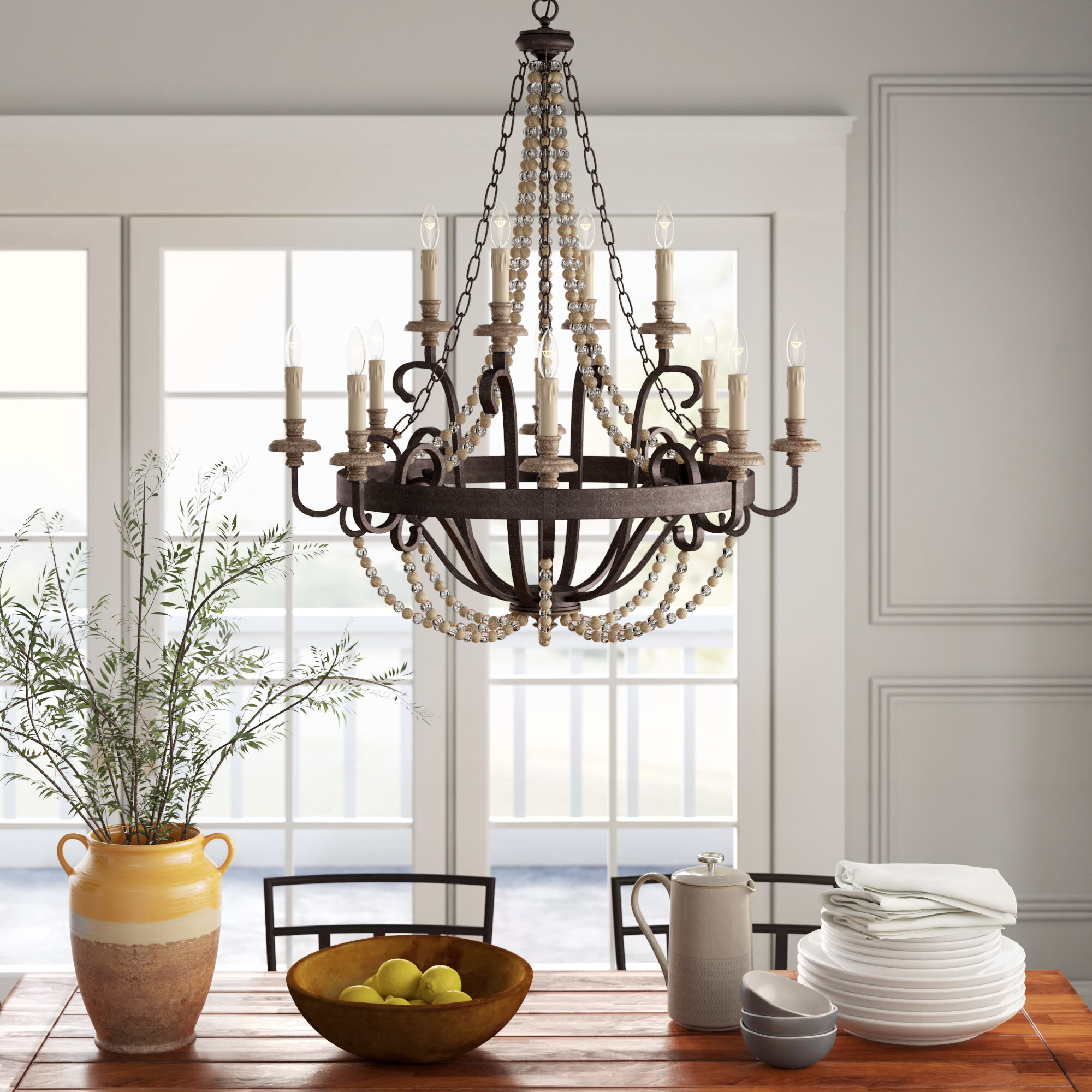 Birch Lane Aaden 12 Light Candle Style Empire Chandelier With Beaded Accents Reviews Wayfair