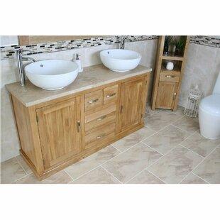 Demars Solid Oak 1430mm Free-Standing Vanity Unit By Belfry Bathroom