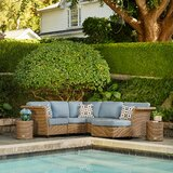 Bettino Sectional Set with 2 Side Tables and 1 Ottoman Deep Seating Group with Sunbrella Cushions by Red Barrel Studio®