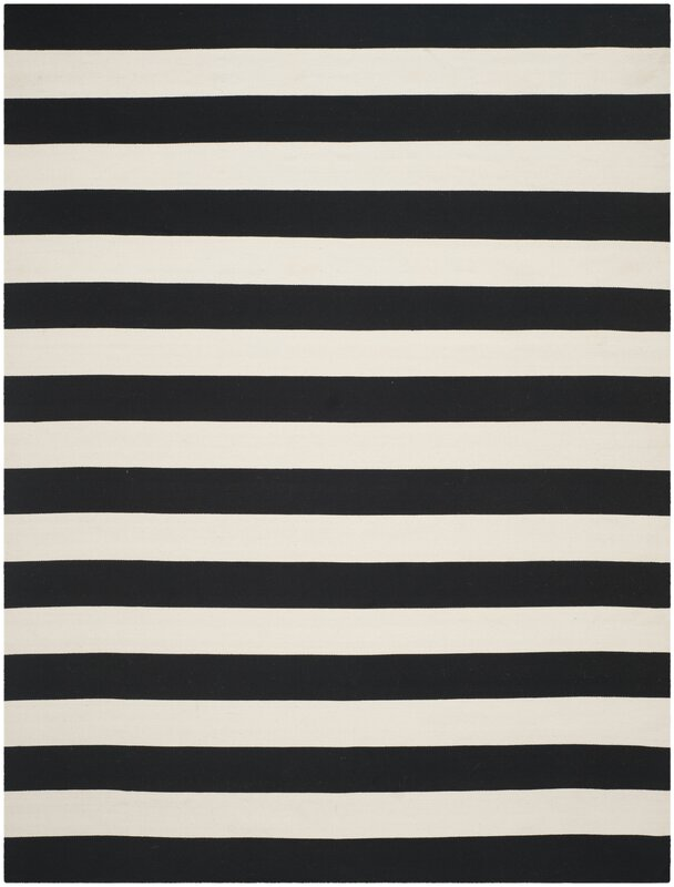 Skyler Hand-Woven Cotton Black/White Area Rug #blackandwhite #rug #stripes