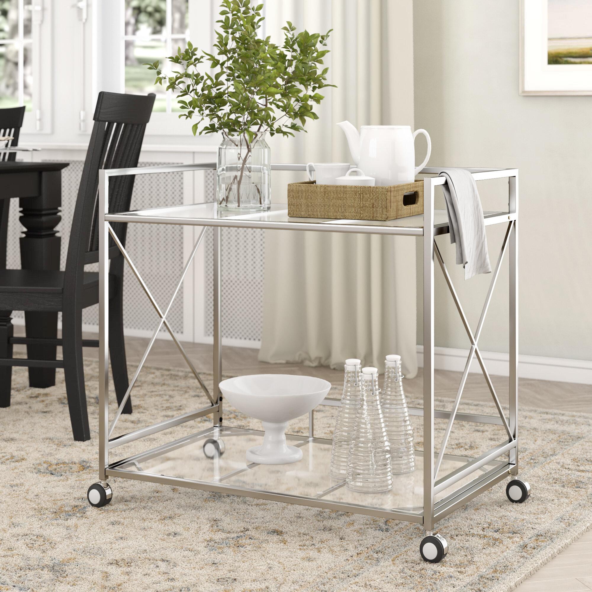 Ebern Designs Ducote Industrial Modern Iron Glass Bar Cart Reviews Wayfair
