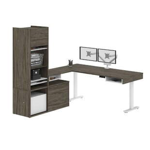 Hanrahan Pro-Vega Height Adjustable L-Desk with Storage Tower & Dual Monitor Arm in White and Black