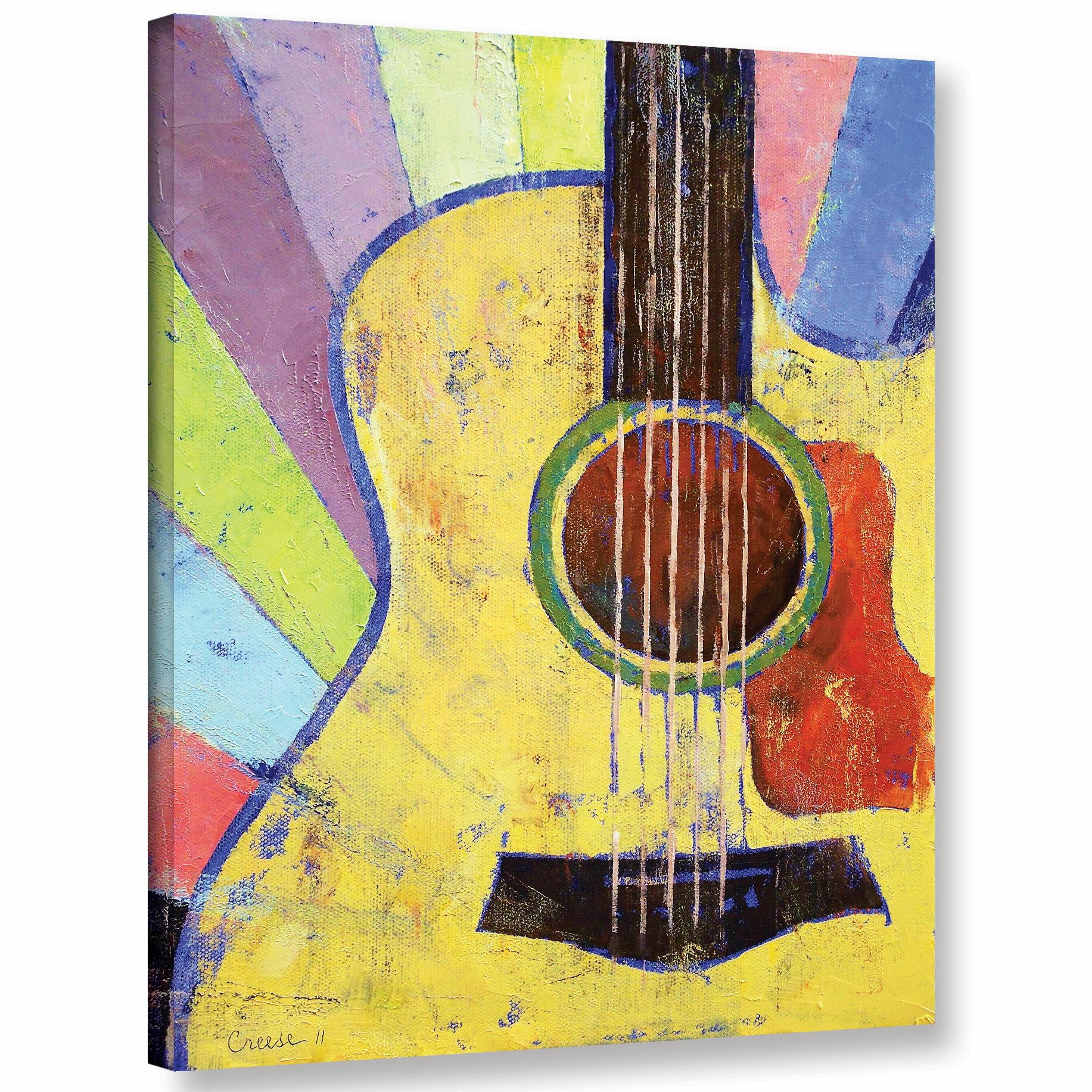 Ivy Bronx Sunrise Guitar Painting Print on Wrapped Canvas | Wayfair