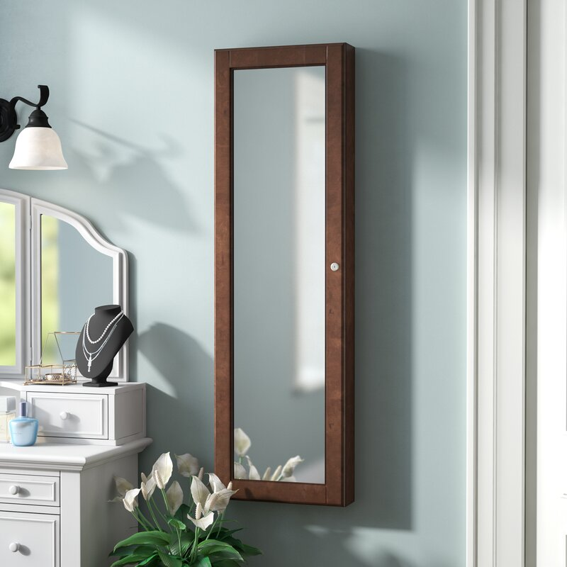 Chauncey Wall Mounted Jewelry Armoire With Mirror