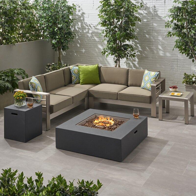 Orren Ellis 1 Eaker Outdoor 5 Piece Sectional Seating Group With Cushions Wayfair