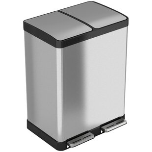 iTouchless Stainless Steel 16 Gallon Step-On Multi-Compartments Trash and Recycling Bin