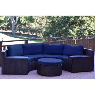 Jeco Inc. Cartagena 5 Piece Rattan Sofa Seating Group with Cushions