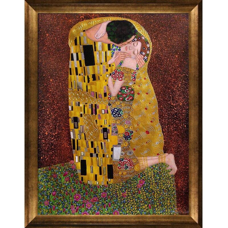La Pastiche \'The Kiss\' by Gustav Klimt Framed Painting Print on ...