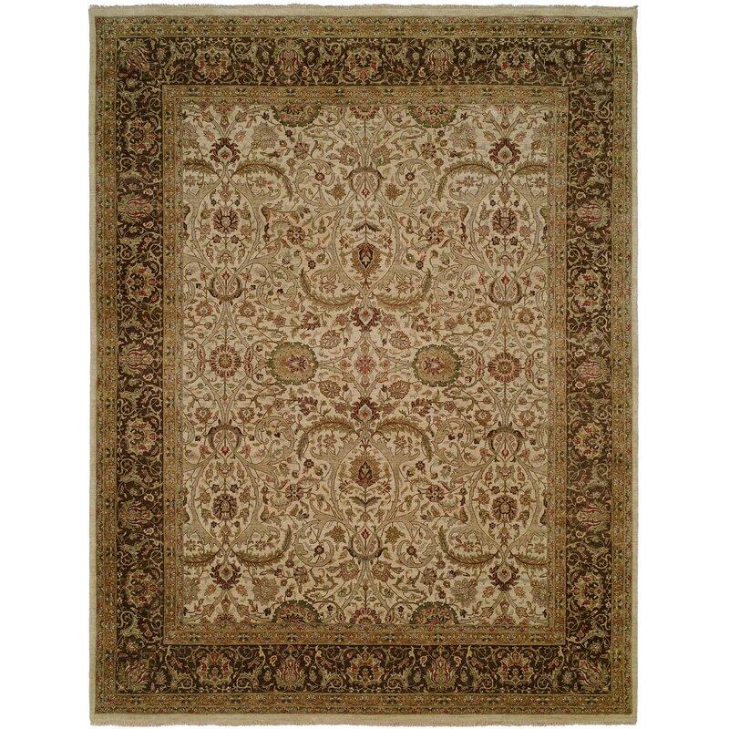 Meridian Rugmakers Diphu Oriental Hand Knotted Wool Ivory Brown Area Rug Wayfair
