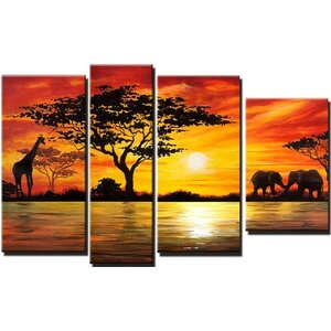 'Modern African Landscape' 4 Piece Painting on Canvas Set