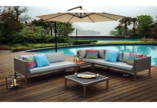 W Unlimited Turin 5 Piece Sofa Set with Cushions