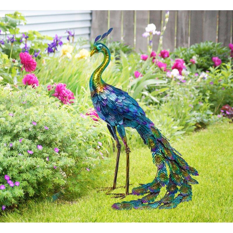 Peacock Large Coloured Metal Standing Peacock Garden Outdoor Ornament NEW Decor