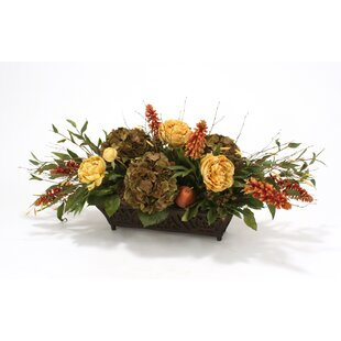 Silk Roses, Peonies, Berries and Birch in Rust Filigree Planter