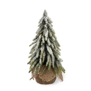 11'' White and Green Fir Tree Artificial Christmas Tree in Jute Base