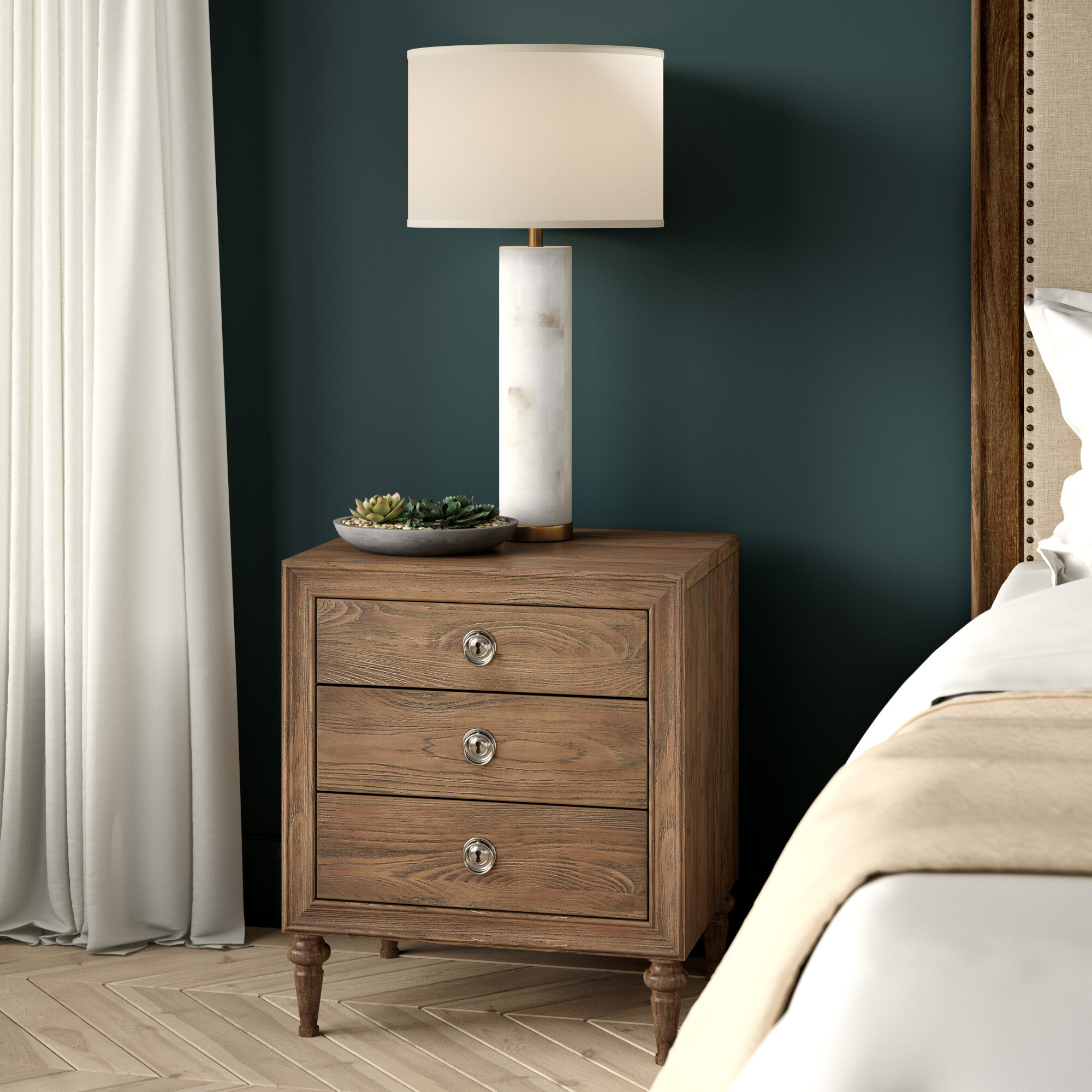 Greyleigh Feickert Traditional Style 3 Drawer Wood Nightstand Wayfair