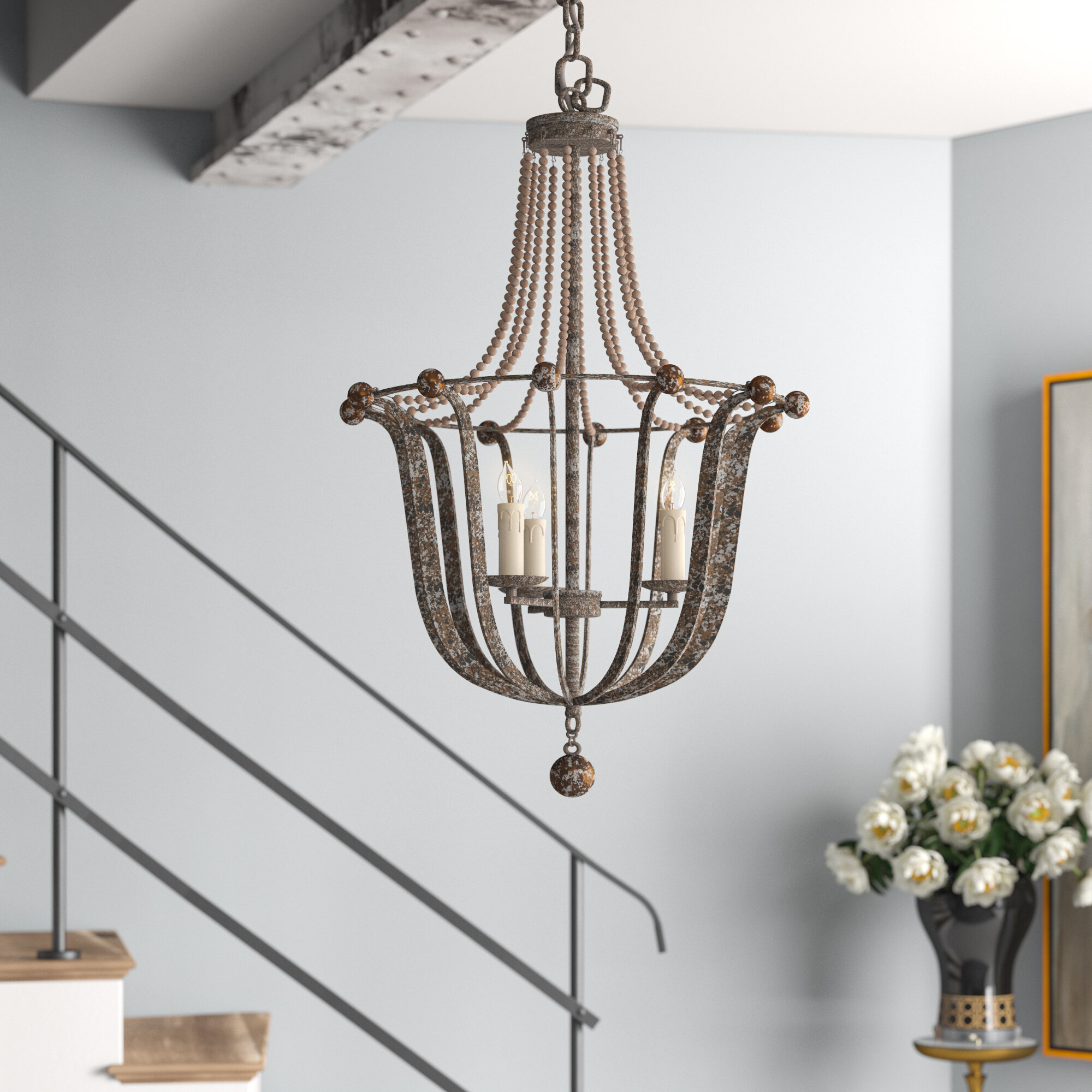 Gabby 3 Light Candle Style Empire Chandelier With Beaded Accents Perigold