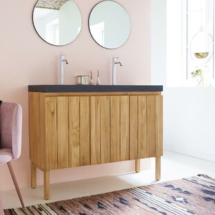 Jill Solid Teak 1200mm Free-Standing Double Vanity Unit By Tikamoon
