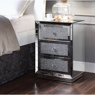 Topanga Mirrored 3 Drawer Nightstand by House of Hampton