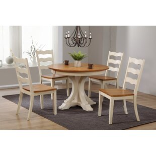 Dessert Deco Antiqued Transitional Ladder Back 5 Piece Extendable Dining Set