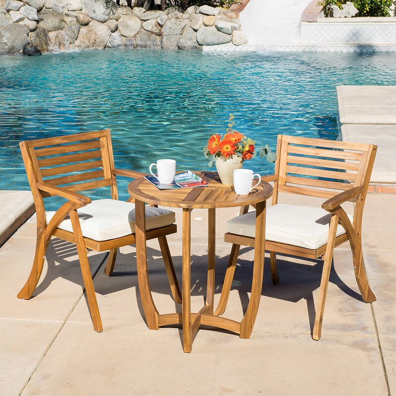 3 Piece Bistro Set With Cushions