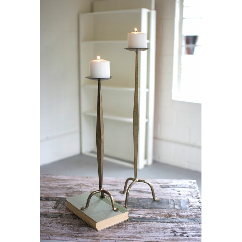 2 Piece Metal Candlestick Set